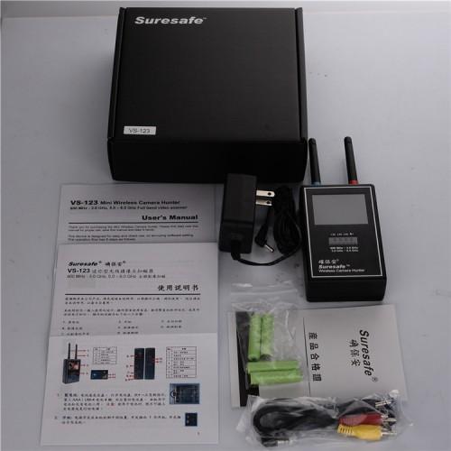 Détecteur anti-écoute indiscrète VS-123 détection de mise en sourdine distance de détection de 100 m sortie audio et vidéo autonomie de 15h affichage de l'affichage