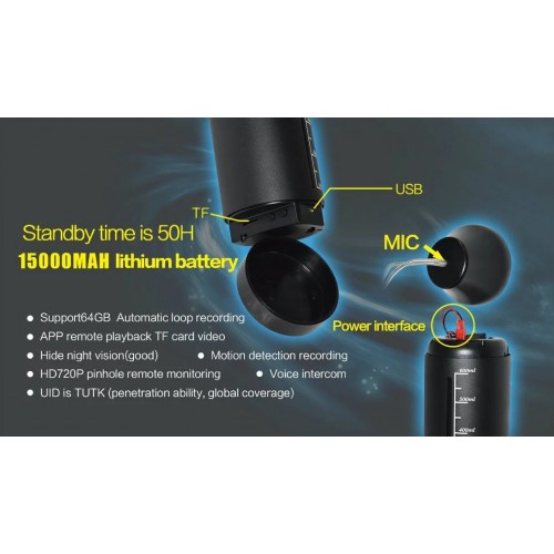 Tasse à eau caméra de surveillance invisible corps en alliage d'aluminium pas de trou vision nocturne infrarouge WiFi, hotspot, connexion directe APP longue durée de vie de la batterie