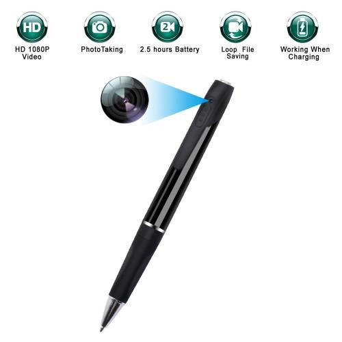 Enregistrement multifonction et stylo vidéo vidéo HD 1080p photo durée de vie de la pile de 2,5 heures enregistrement en boucle travail pendant le chargement