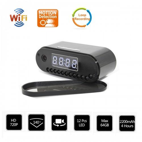 Caméra-réveil cachée qualité d'image nette 720P  grand angle 140 °  12 lentilles à LED  extension de mémoire maximale 64G  2200mAh 4 heures en veille